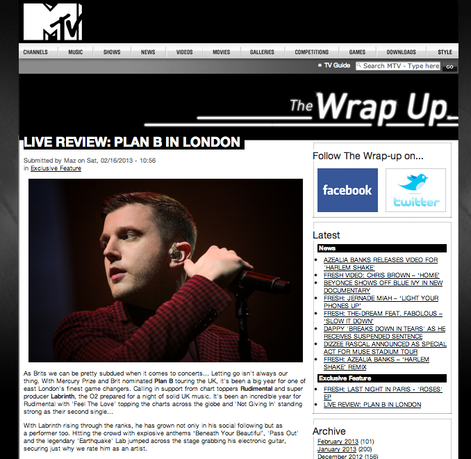 Plan B Live Review 2013 Carly Wilford