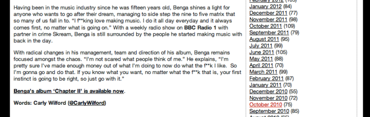 BENGA - INTERVIEW - CARLY WILFORD