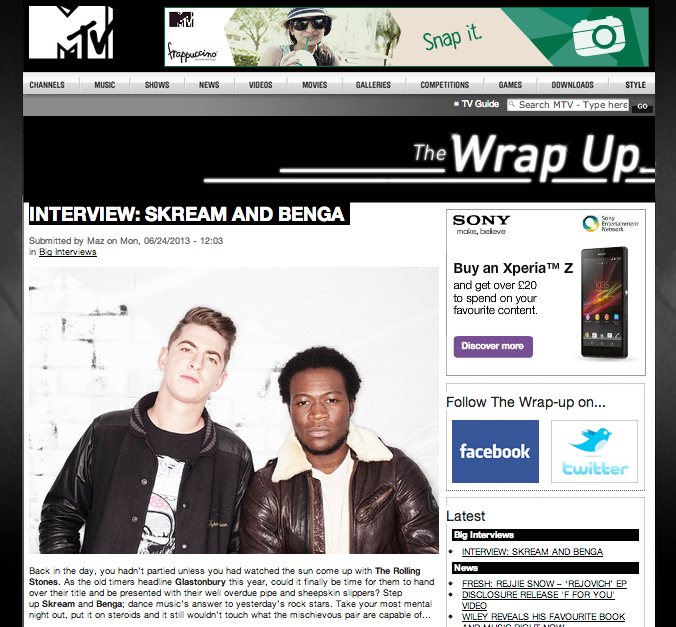 SKREAM & BENGA INTERVIEW WITH CARLY WILFORD