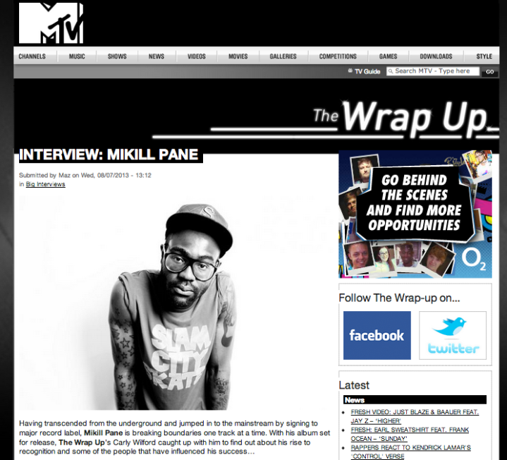 MIKILL PANE INTERVIEW WITH CARLY WILFORD FOR MTV