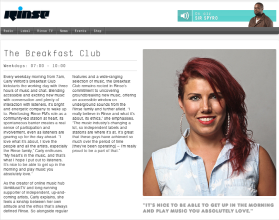 Carly Wilford - Rinse FM The Breakfast Club