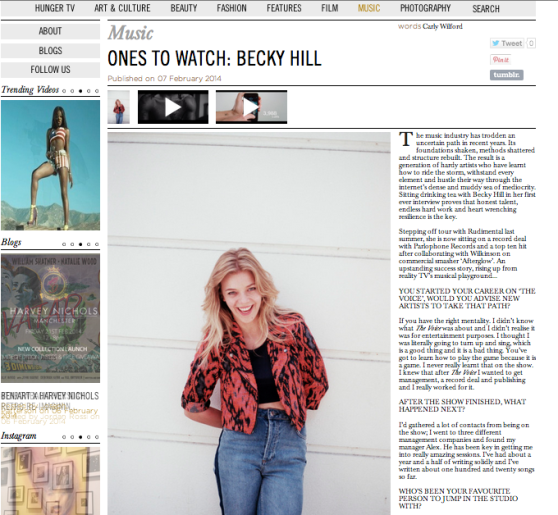 BECKY HILL INTERVIEW CARLY WILFORD HUNGER MAGAZINE