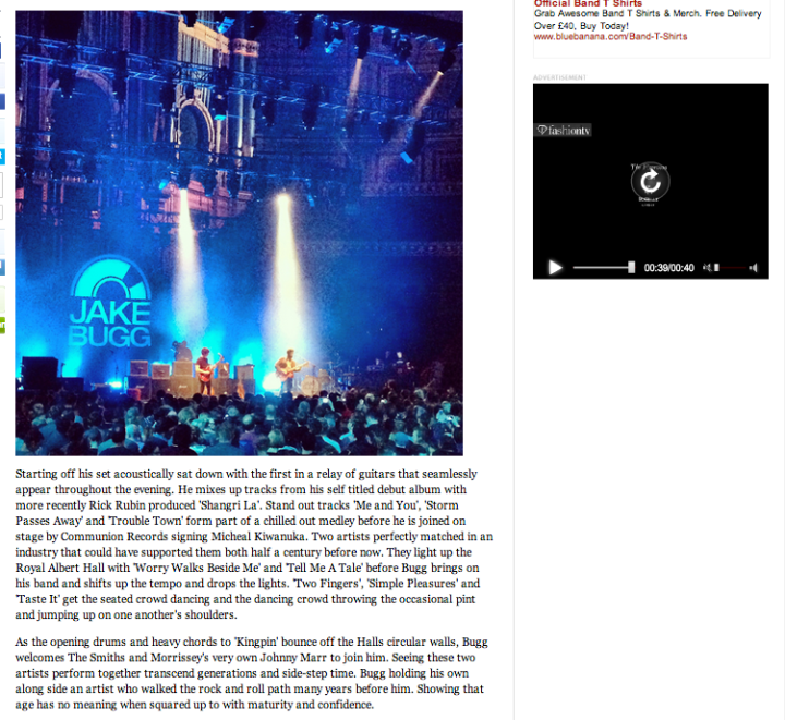 JAKE BUGG LIVE REVIEW ROYAL ALBERT HALL