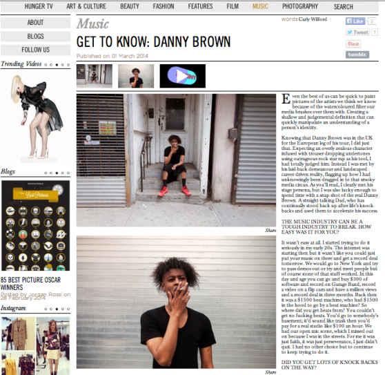 DANNY BROWN INTERVIEW CARLY WILFORD HUNGER MAGAZINE