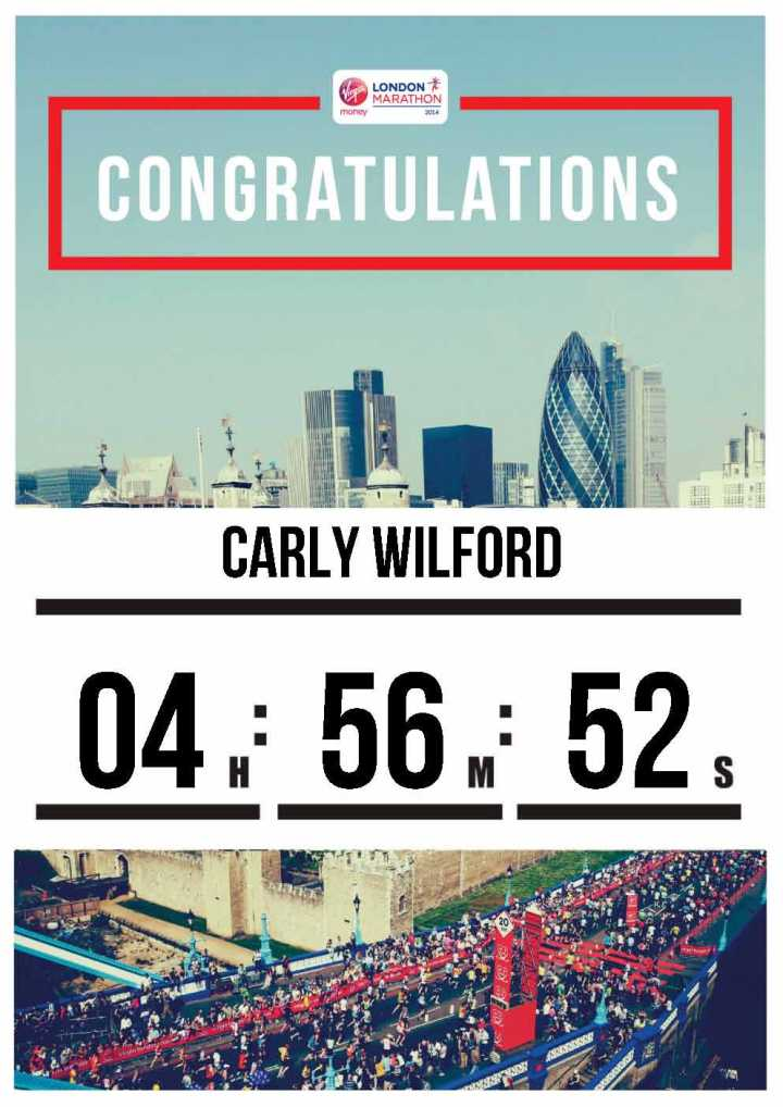 Carly Wilford London Marathon 2014
