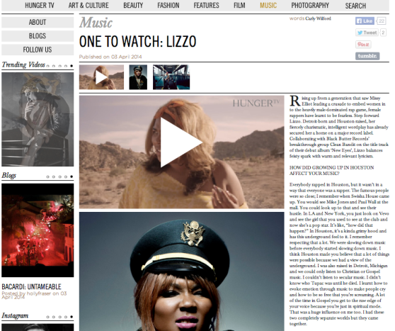 LIZZO INTERVIEW CARLY WILFORD HUNGER MAGAZINE