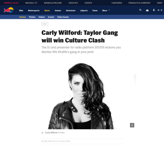 RED BULL CULTURE CLASH CARLY WILFORD