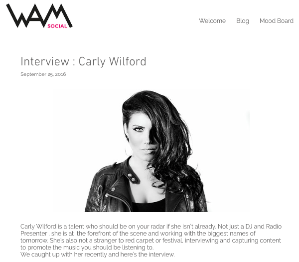 CARLY WILFORD WAM SOCIAL INTERVIEW