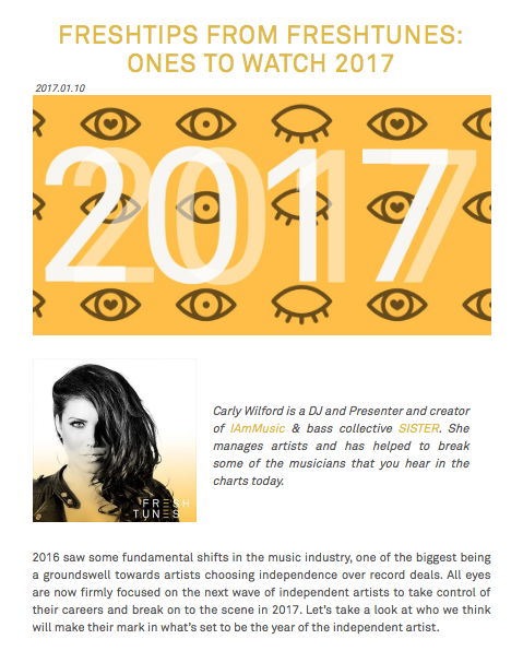 CARLY WILFORD ONES TO WATCH 2017 FRESHTUNES